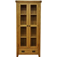 Stockbridge Ready Assembled 1-Drawer 2-Door Oak Display Cabinet