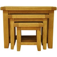 Stockbridge Ready Assembled Large Nest of 3 Oak Tables
