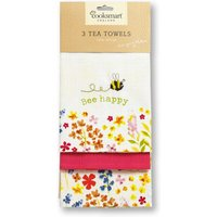Cooksmart Bee Happy Tea Towels - 3 Pack