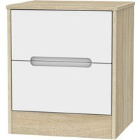 Barquero 2-Drawer Bedside Table - Pine/White Gloss