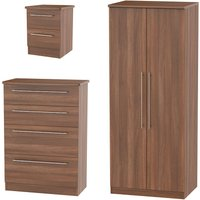 Edina Wardrobe, Chest of Drawers and Bedside Cabinet Set
