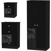 Tedesca Wardrobe, Chest of Drawers and Bedside Cabinet Set - Black