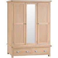Wisborough Light Oak 3-Door Wooden Wardrobe with 2 Drawers