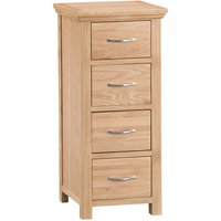 Fenwin Ready Assembled 4-Drawer Narrow Wooden Chest - Oak