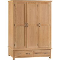 Hindsley 3-Door 2-Drawer Oak Wardrobe