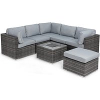 Maze Rattan Porto Corner Sofa with Ice Bucket - Grey