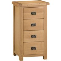 Graceford Ready Assembled 4-Drawer Narrow Oak Chest of Drawers