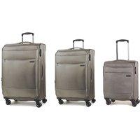 Rock Deluxe-Lite 3-Piece 8-Wheel Spinner Suitcase Set - Bronze
