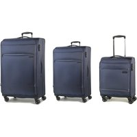 Rock Deluxe-Lite 3-Piece 8-Wheel Spinner Suitcase Set - Navy