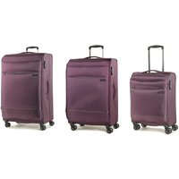 Rock Deluxe-Lite 3-Piece 8-Wheel Spinner Suitcase Set - Purple