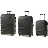 Rock Byron 3-Piece Hard Shell Spinner Suitcase Set - Black