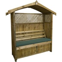 Zest4Leisure Hampshire Wooden Arbour with Storage Box and Green Seat Cushion