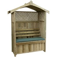 Zest4Leisure Dorset Wooden Arbour with Storage Box and Seat Cushion - Green