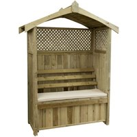Zest4Leisure Dorset Wooden Arbour with Storage Box and Seat Cushion - Stone