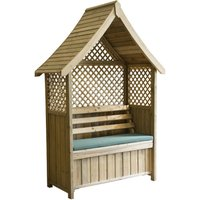 Zest4Leisure Norfolk Garden Arbour with Storage Box and Seat Cushion - Green