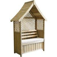 Zest4Leisure Norfolk Garden Arbour with Storage Box and Seat Cushion - Stone