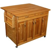 Catskill by Eddingtons Butcher Block Kitchen Trolley Plus on Wheels with Drop Leaf Extension