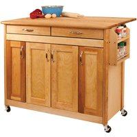Catskill by Eddingtons Butcher Block Kitchen Trolley on Wheels with Drop Leaf Extension - Flat Panel Doors