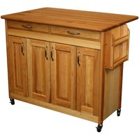 Catskill by Eddingtons Butcher Block Kitchen Trolley on Wheels with Drop Leaf Extension - Raised Panel Doors
