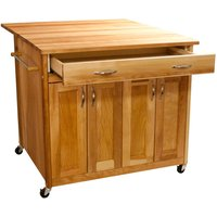 Catskill by Eddingtons Deep Kitchen Island on Wheels with Drop Leaf Extension