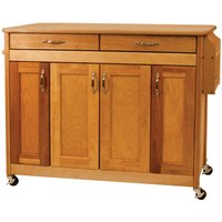 Catskill by Eddingtons Butcher Block Kitchen Island on Wheels with Flat Panel Doors