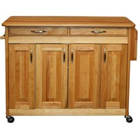 Catskill by Eddingtons Butcher Block Kitchen Island on Wheels with Raised Panel Doors