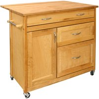 Catskill by Eddingtons Mid-Sized Drawer Kitchen Trolley on Wheels with Drop Leaf Extension
