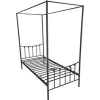 Single Four Poster Metal Bed Frame - Black