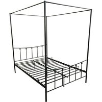 Double Four Poster Metal Bed Frame - Black
