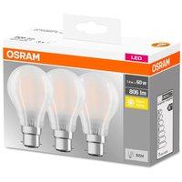 Osram 60w BC Classic Frost Light Bulbs 3pk