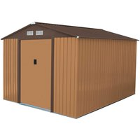 Charles Bentley 8 x 10ft Metal Garden Shed - Brown