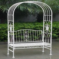 Charles Bentley Wrought Iron Shabby Chic Arbour - White