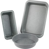 Salter Marble Collection Carbon Steel 3-Piece Roasting and Baking Tray Set