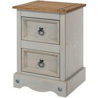 Halea 2-Drawer Pine Bedside Cabinet - Grey