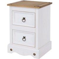 Halea 2-Drawer Pine Bedside Table - White