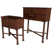 Charles Bentley Rust-Effect Suitcase Planter - Set of 2