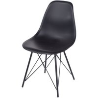 Roloku Pair of Plastic Chairs with Metal Legs - Black