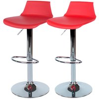 Roloku Pair of Chrome-Effect Bar Stools - Red