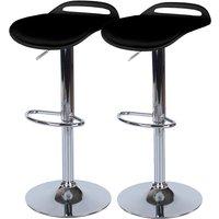 Roloku Pair of Chrome-Effect Flat Seat Bar Stools - Black