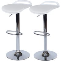 Roloku Pair of Chrome-Effect Flat Seat Bar Stools - White