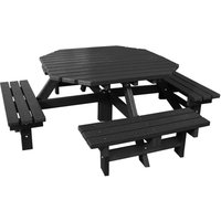NBB Recycled Furniture NBB Recycled Heavy Duty Octagonal 8-Seater Picnic Table - Black