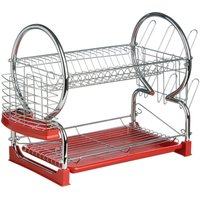 Premier Housewares 2-Tier Dish Drainer - Chrome and Red