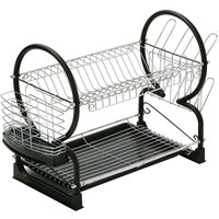 Premier Housewares 2-Tier Dish Drainer - Chrome/Black