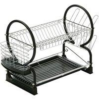 Premier Housewares 2-Tier Dish Drainer - Black