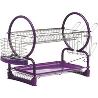 Premier Housewares 2-Tier Dish Drainer - Chrome/Purple