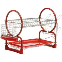 Premier Housewares 2-Tier Dish Drainer - Red