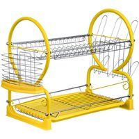 Premier Housewares 2-Tier Dish Drainer - Yellow