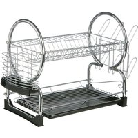 Premier Housewares 2-Tier Dish Drainer - Chrome and Black