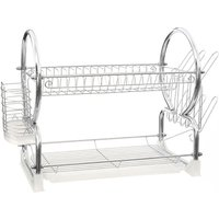 Premier Housewares 2-Tier Dish Drainer - Chrome and White
