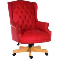 Teknik Chairman Leather Faced Swivel Chair - Red